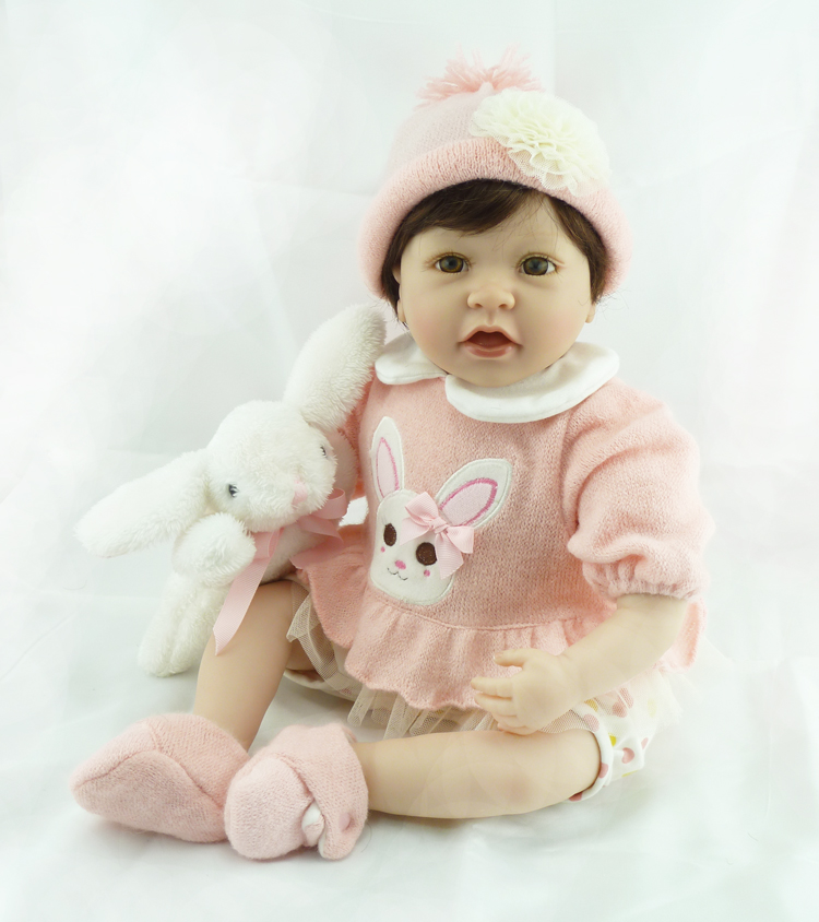 Adorable doll reborn for girls gift 22 silicone baby dolls cloth body with rabbit plush dolls bebe alive reborn bonecas Adorable doll reborn for girls gift 22 silicone baby dolls cloth body with rabbit plush dolls bebe alive reborn bonecas