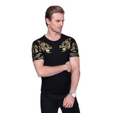 2018 Summer New High-End Men's Brand T-Shirt Fashion Slim Gold Dragon Printing T Shirt Plus Size Short-Sleeved Tee Shirt Men 5XL