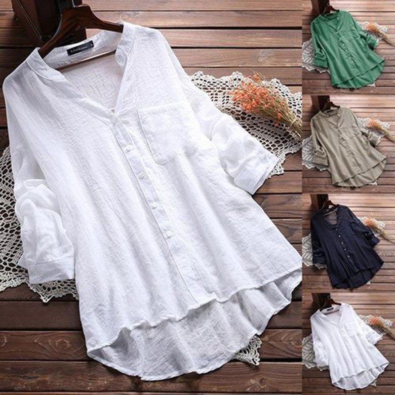 Long Sleeve V Neck Women's White Shirt Office Lady Button Casual Loose Female Shirts Plus Size 2020 Spring Women Tops Clothes