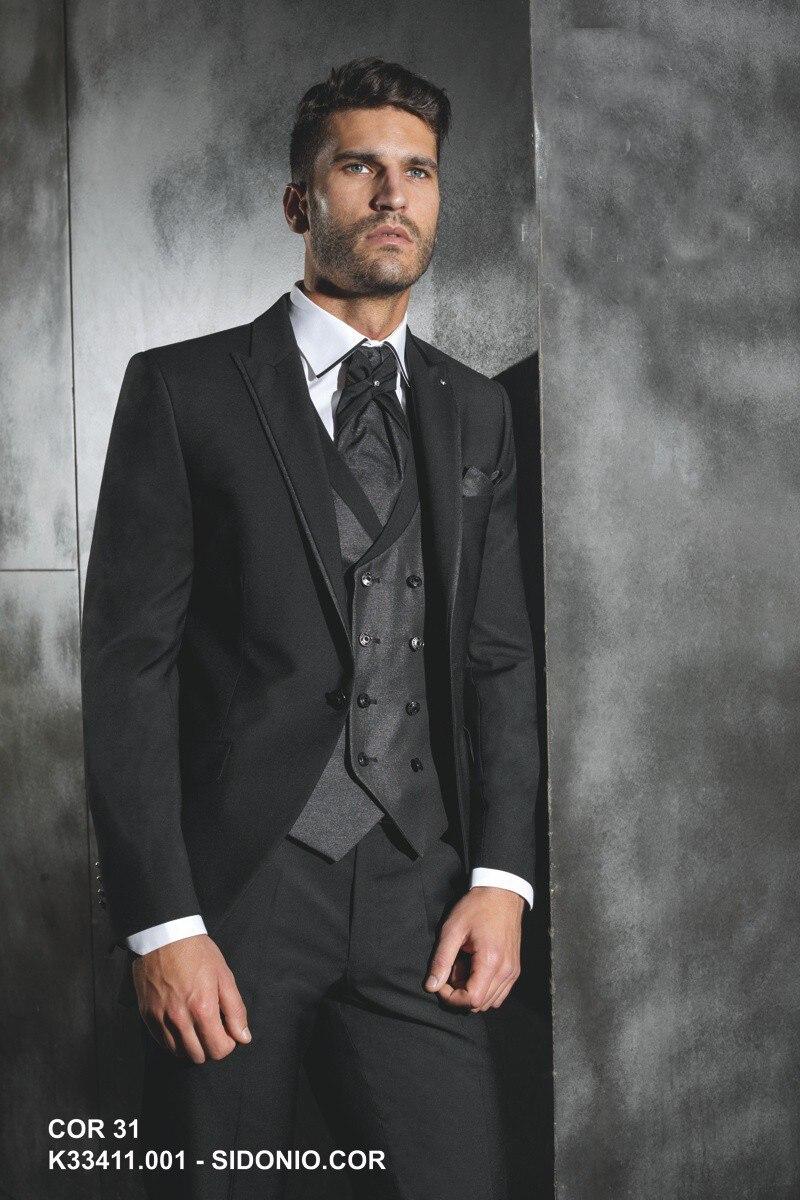 ad236ec1907ec Мужские костюмы для выпускного вечера 2017 Черная куртка темно-серый жилет мужские  костюмы Свадебный смокинг