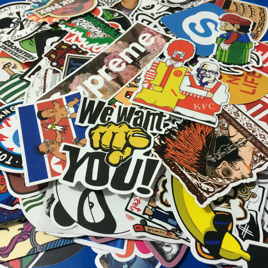 Cool sticker design for bike - Stickers Fashion Cool 50 Pcs Pvc Stickers For Travel Suitcase Wall Pencil Box Bike Phone Sliding