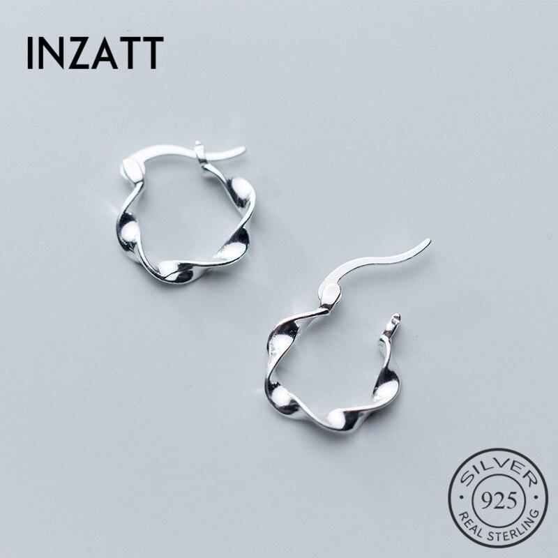 INZATT Real 925 Sterling Silver OL Geometric Wave Hoop Earrings For Women Party Minimalist Earrings Fine  Jewelry Accessories