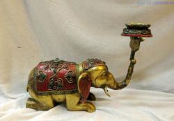 Tibet verguld koper handwerk inlay turquoise mooie olifant kandelaar Standbeeld