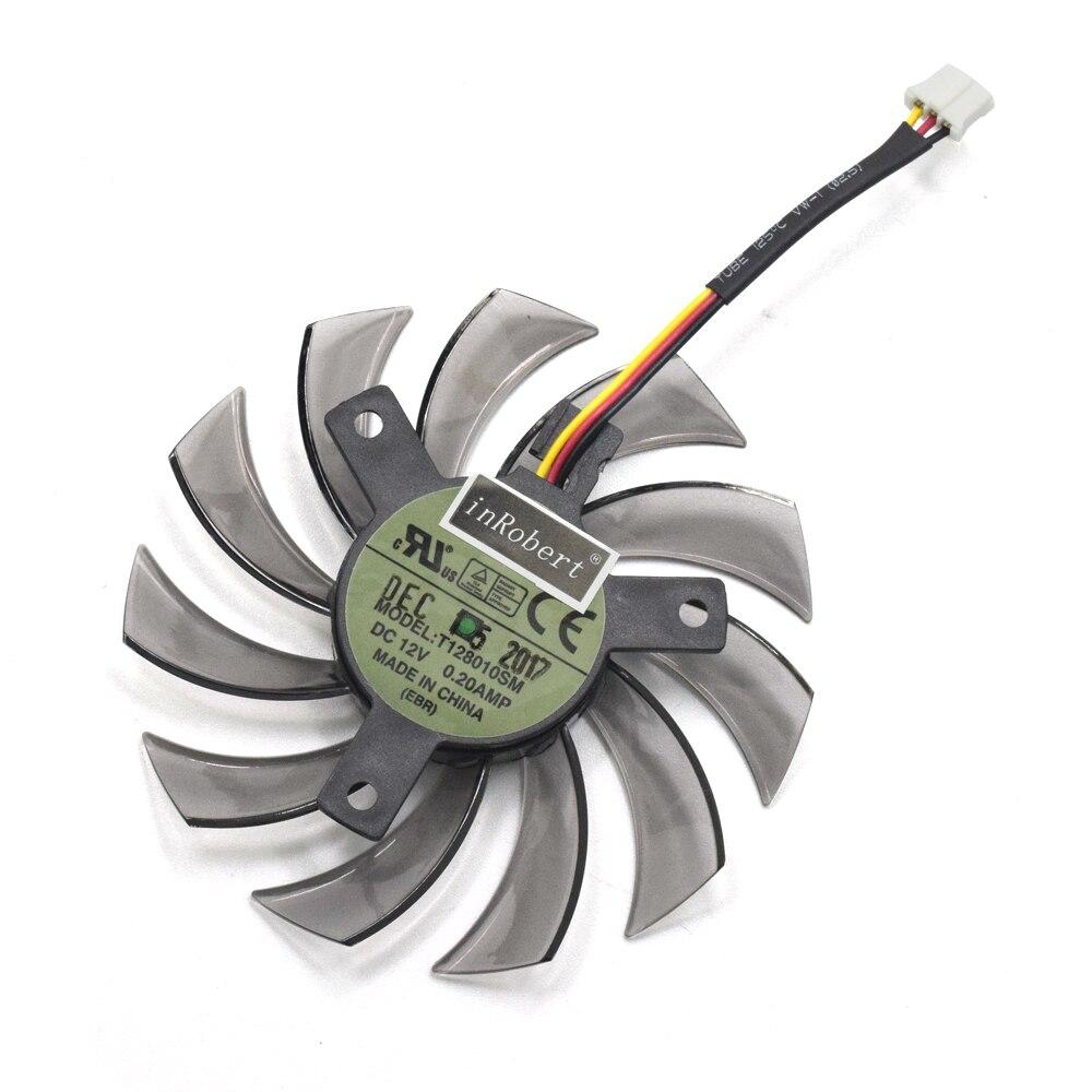 Nouveau Everflow T128010SM 75mm 3Pin 3 Fil DC 12 v 0.20A Carte Graphique Ventilateur De Refroidissement Gigabyte N465 GTX670 GTX580 560TI Refroidisseur Fans