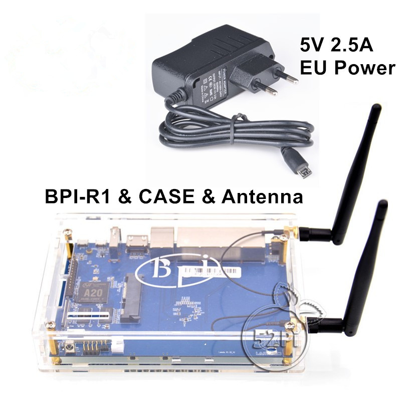 Banana Pi R1 BPI-R1 Smart Home Open-Source Wireless Router + 2*3dB Antenna + Acrylic Case + 5V 2.5 EU Power Supply