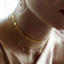 BK New Fashion Multi-layer Necklace for Women Gold Color Natural  Sweater Chain Clavicle Choker Jewelry Gift