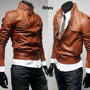 Shipping Free CHIC Mens Leather Jacket Coat Jumper Color Brown Size M/L/XL