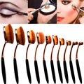 10 pcsx Belleza Pinceles de Maquillaje Crema Ovalada Soplo de Energía de Base En Forma de cepillo de Dientes Conjunto