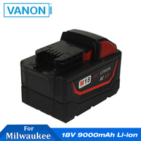 VANON For MILWAUKEE M18 Battery 18V 9000mAh 9.0 Ah Li ion Rechargeable M18B LITHIUM ION HD 48 11 1811 Cordless Power Tools