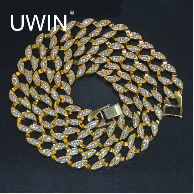 "UWIN Rapper Hip Hop Men's Necklace Bling Iced out 30"" CZ Rhinestone 15mm Miami Cuban Link Chain Necklace Fashion Jewelry"