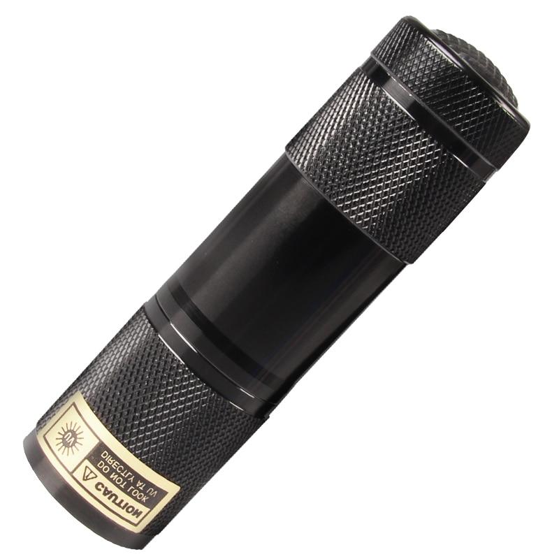 Mode UV LED Senter 9LED Aluminium 395nm Mini Portable Violet Ungu AAA - Pencahayaan portabel
