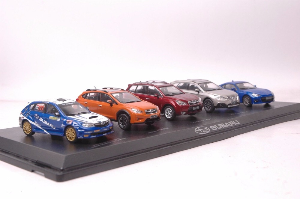 Set of Five 1:43 Diecast Model for Subaru Series WRX XV Forester Outback BRZ Alloy Toy Car Miniature Collection Gifts