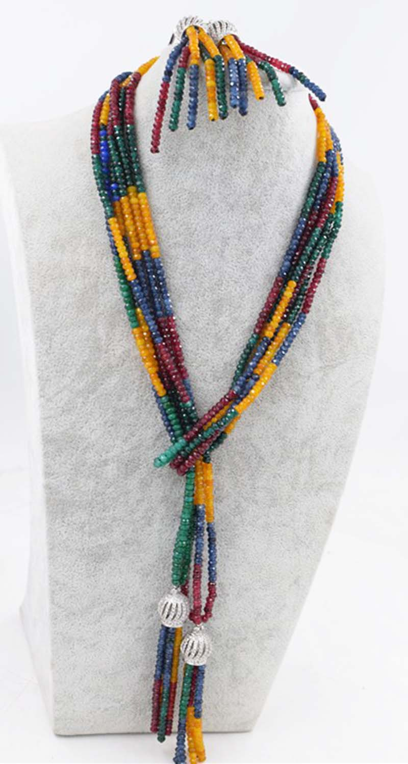 one set jade roundel faceted multicolor 4*2mm necklace earrings 55inch tassels hook wholesale beads nature FPPJ woman 2017 цена