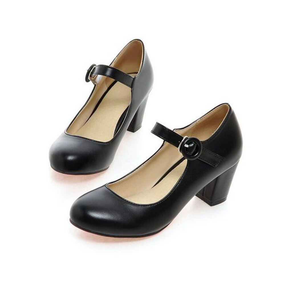 fashion Women Shoes Mary Jane Ladies round toe High Heels White Wedding Shoes Thick Heel Pumps Lady Shoes Black Pink Plus size in Women 39 s Pumps from Shoes
