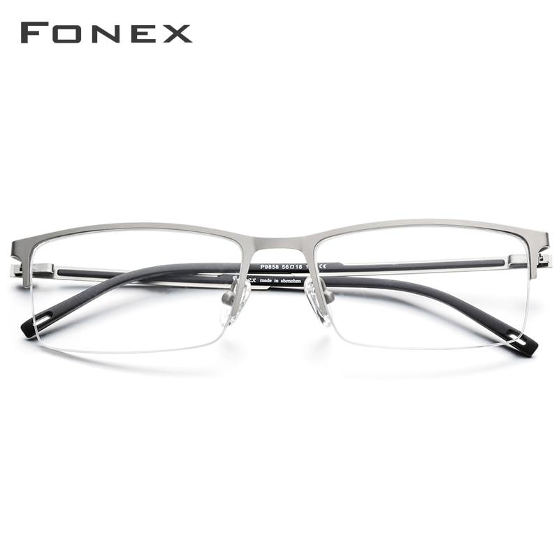 Image 2 - FONEX Alloy Glasses Frame Men Ultra Light Half Square Myopia Prescription Eyeglasses 2019 New Optical Frames Screwless Eyewear-in Men's Eyewear Frames from Apparel Accessories
