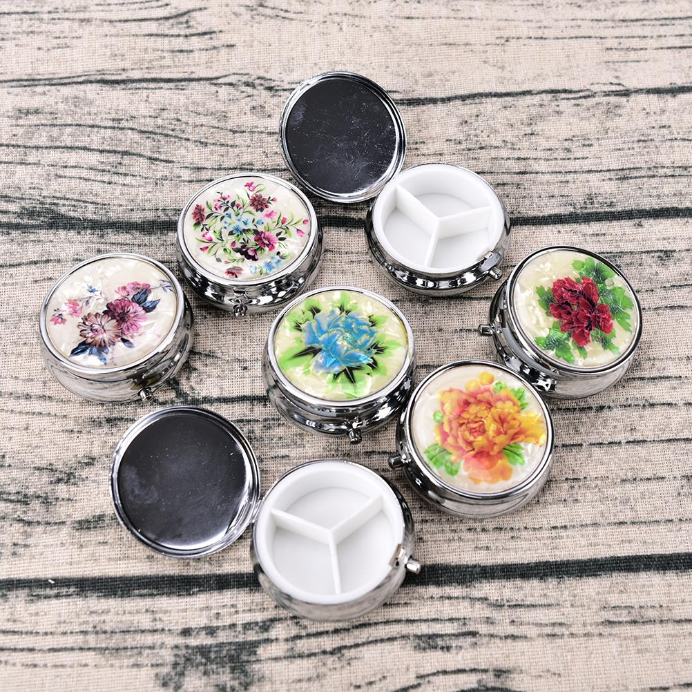 3 Cell Metal Round Silver Tablet Pill Boxes Holder Small Case Silver Tablet Pill Boxes Container Metal Round Medicine Case