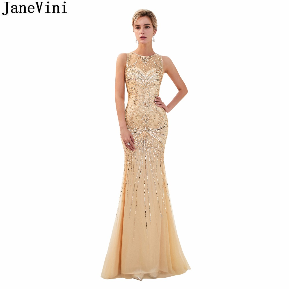 JaneVini Luxury Crystal Beaded Dubai Long   Bridesmaid     Dresses   O Neck Sleeveless Gold Mermaid Tulle Prom Party Gowns Sweep Train
