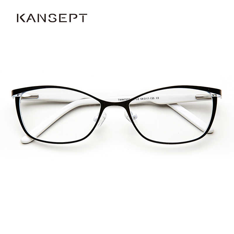 Metal Women Cat Eye Glasses Frames For Women Vintage Spectacles Transparent Black and White Eyeglasses Frames#TWM7559C2