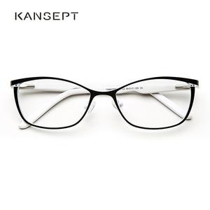 Image 1 - מתכת נשים עין חתול משקפיים מסגרות לנשים בציר משקפיים שקוף שחור ולבן משקפיים מסגרות # TWM7559C2