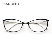 Metalowe damskie kocie oko ramki okularów dla kobiet Vintage okulary przezroczysty czarny i biały oprawki do okularów # TWM7559C2