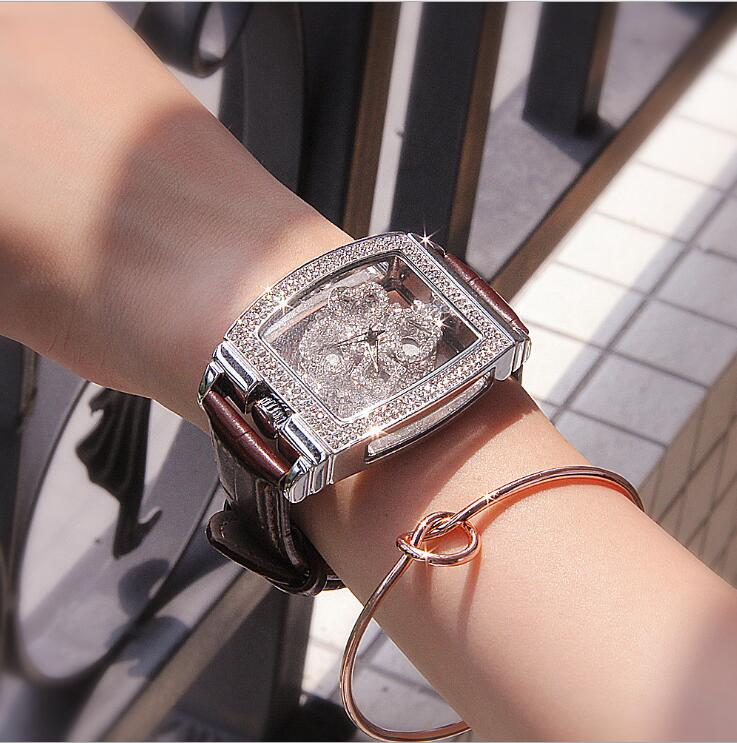 2019 new authentic ladies watch diamond-encrusted leather belt quartz waterproof personality fashion tide female watch diamond stylish watches for girls