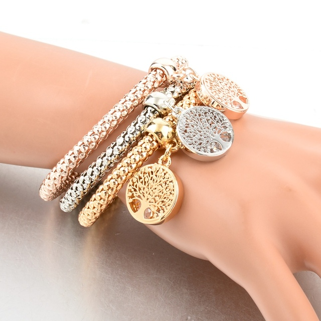 LongWay Vintage Designer Austrian Rhinestones Gold Color Tree of Life Charm Bracelets Popcorn Chain Jewelry For Women SBR160104 3