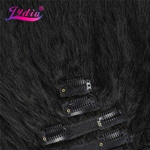 Image 3 - Lydia 8 sztuk/zestaw 18 klipów w treski włosów 6 Cal naturalne kręcone syntetyczne żaroodporne przedłużanie włosów wszystkie kolory są dostępne