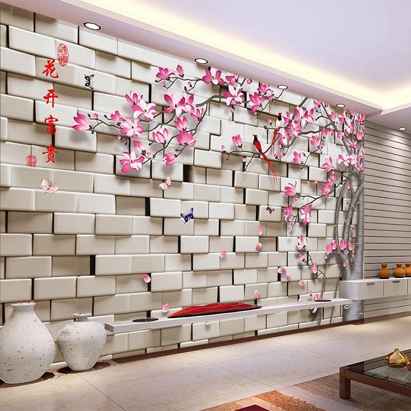 Foto personalizada 3d estereoscópico geométrico treliça flor pássaro árvore sala de estar sofá tv fundo da parede mural decoração papel rolo