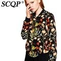 SCQP Floral Impresso Manga Longa Jaqueta Mulheres 2016 Outono Fashon Do Vintage O-pescoço Das Mulheres Básicas Casacos Casuais Blusão Fino