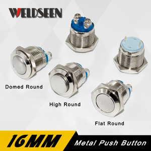 16mm Reset Momentary Metal Push Button Switch 3A/250V Waterproof Silver Car Horn Control Switch Screw Foot Modified Equipment