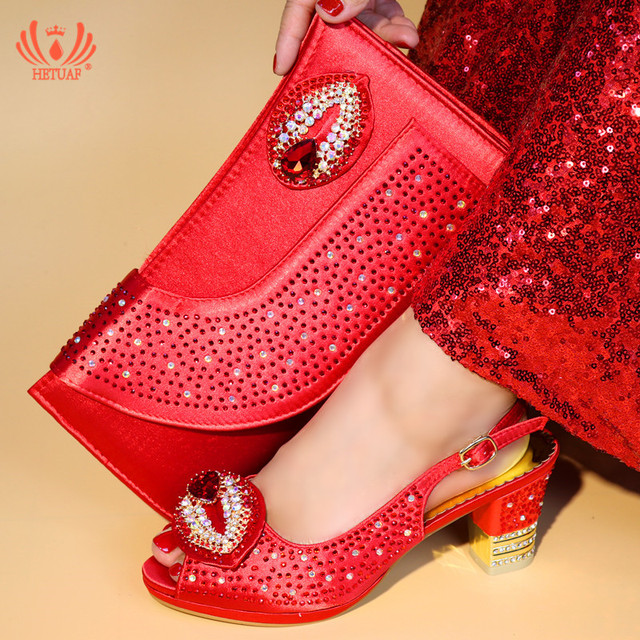 Newest Fashion Red Shoes and Bag Set African Sets Nigerian Women Wedding  Shoes with Bag Set Decorated with Crystals Party Pumps 2e89d0fae563