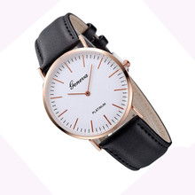 Supper Enjoyable Sizzling Style relogio feminino Luxurious Mens Womens Impartial Geneva Gold shell Easy Leather-based Watch Jan12