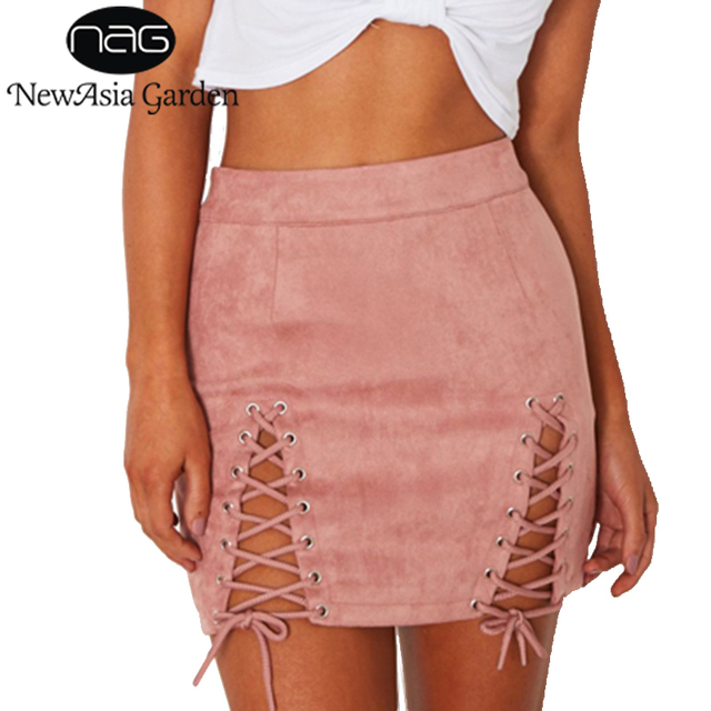 1e6e35db0 NewAsia Garden High Waist Lace Up Women Pencil Skirt Sexy Summer Hollow Out Tie  Faux Suede Mini Skirts Club Wear 2017 New Pink