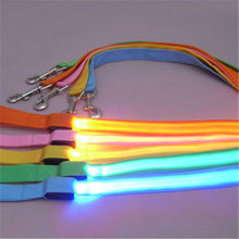 LED Flashing Dog Harness Pet Leash Rope Belt Safety Lead Light Nylon Button Battery For Night Running Walk Around(China)