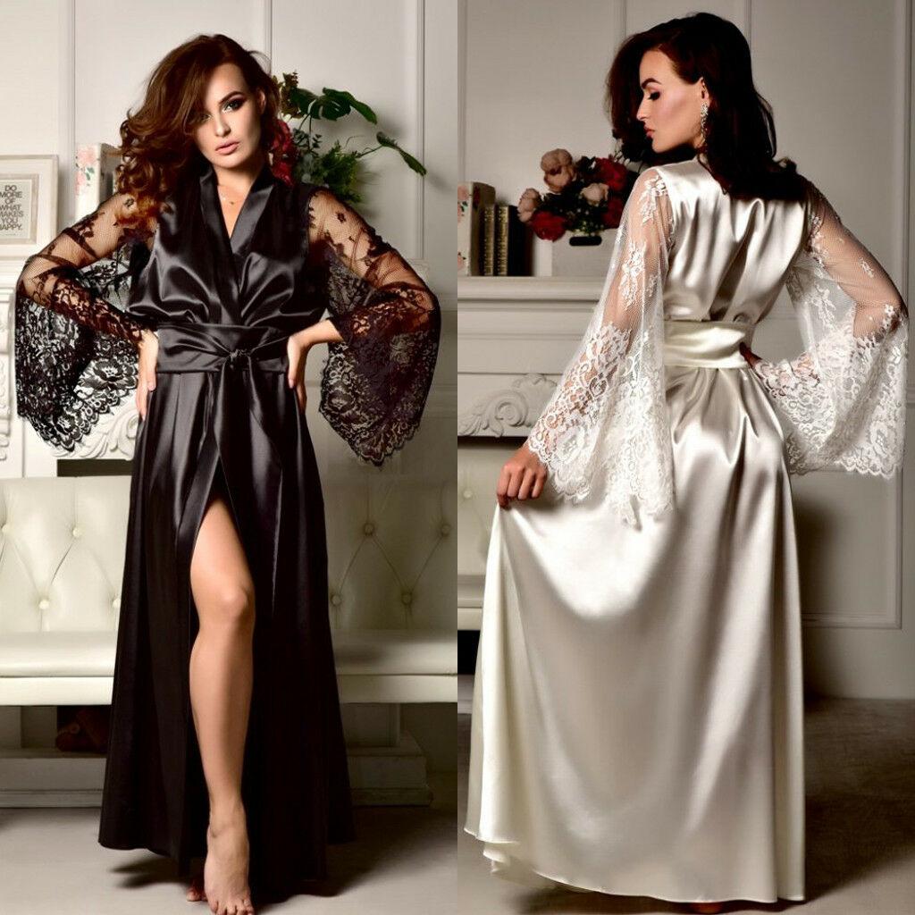 Hot New Sexy Lingerie Women Silk Robe Lace Long Sleeve Solid Loose Long Nightdress Nightgown Sexy Women Sleepwear