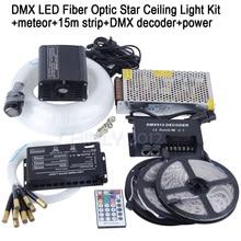 DMX 16 Вт RGBW СВЕТОДИОДНЫЕ Волоконно-Оптической Звезды Потолочный Комплект Light смешанные 335 пряди 4 м, 0.75 мм + 1.0 мм + 1.5 мм + метеор + 15 м полосы + DMX декодер + питание