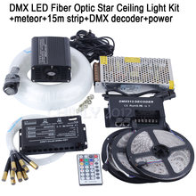 DMX 16W RGBW LED Fiber Optic Star Ceiling Kit Light mixed 335 strands 4m , 0.75mm+1.0mm+1.5mm+meteor+15m strip+DMX decoder+power(China)