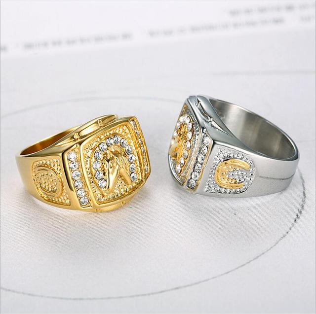 Hiphop iced out bling Horse rings 316L Stainless Steel fashion men Animal shape ring