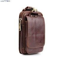 5 5inch Men Genuine Leather Waist Belt Double Zipper Wallet Cell Mobile Phone Pocket Cigarette Key