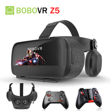 BOBOVRZ5 120 FOV 3D Cardboard VR Remote Helmet Virtual Reality Glasses VR Headset BOX Googles glasses for 4.7-6.2′ Mobile Phone