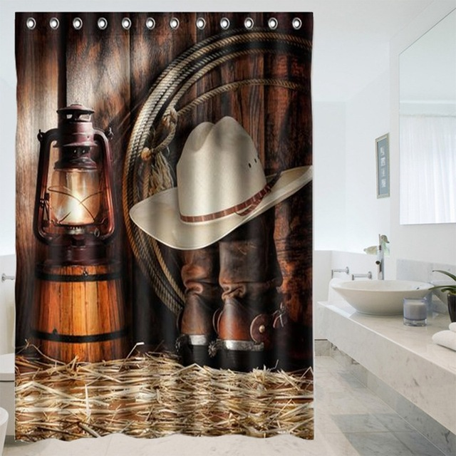 Hot Custom American West Cowboy Bathroom Shower Curtains Water Proof Bath Curtain Decor