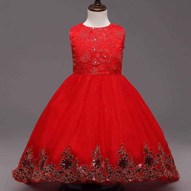 placeholder Red Flower Girls Bridesmaid Dress Teenager Evening Gown Long  Lace Tail Sequin Kids Wedding Dresses for 4d815d62c72a