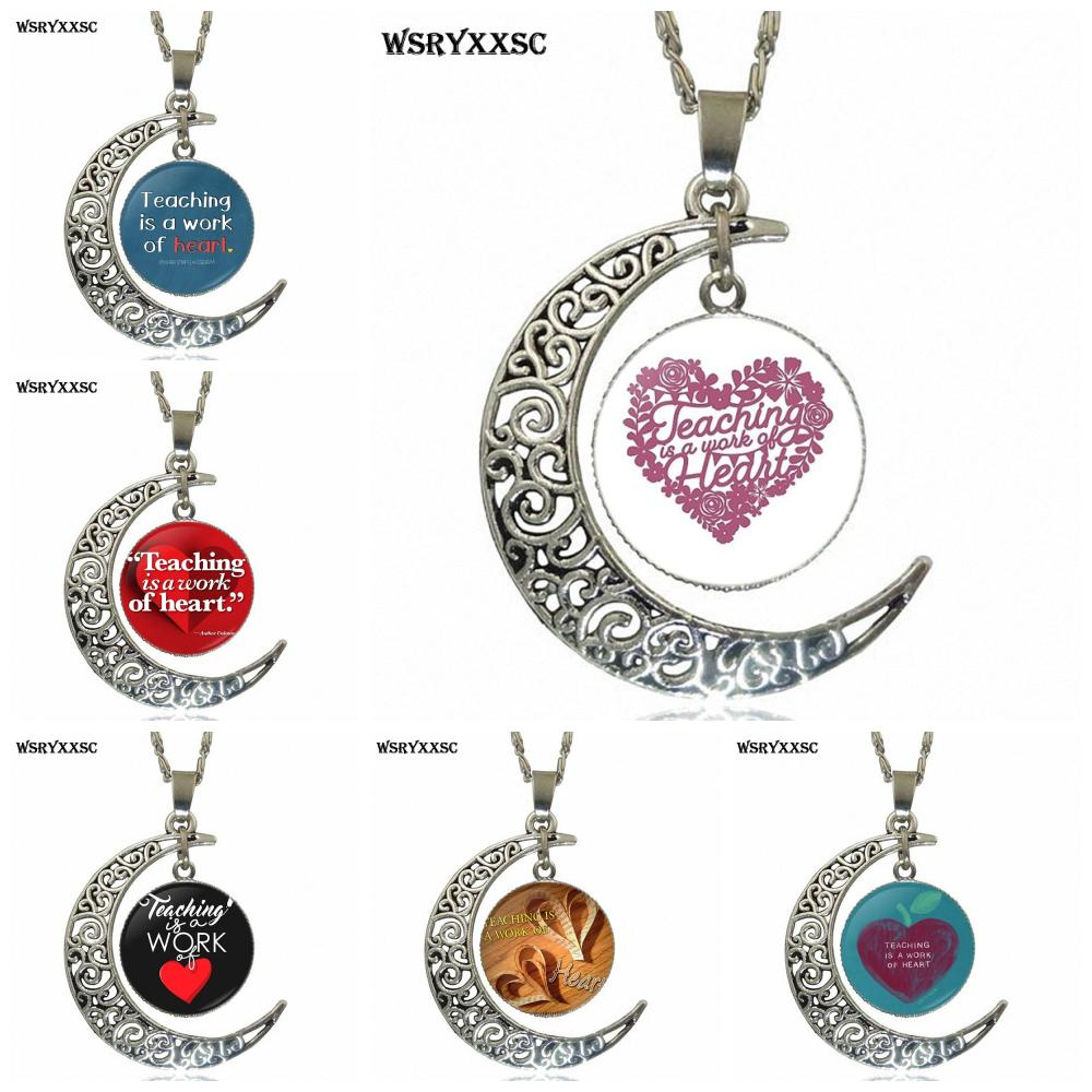EJ Glaze Teaching is a Work of Heart For Girls Design Fashion Glass Crescent Moon Women Necklace Pendants thumbnail