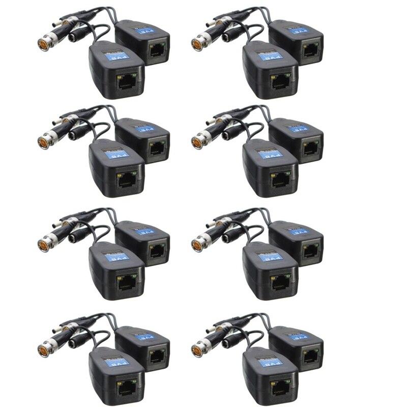 10 paires/lot nouvelle caméra de vidéosurveillance coaxiale BNC vidéo émetteur-récepteur à CAT5e 6 connecteur RJ45 - 2