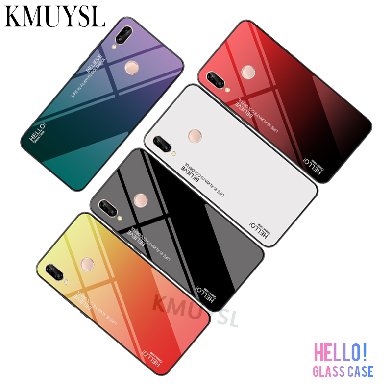 Gradient Tempered <font><b>Glass</b></font> <font><b>Case</b></font> For <font><b>Huawei</b></font> Honor 8X Max 8C 7A 7C Nova 3 3i Mate 20 10 <font><b>Lite</b></font> <font><b>P9</b></font> P10 P20 Pro Y9 Y6 Y5 Prime 2018 Cover image