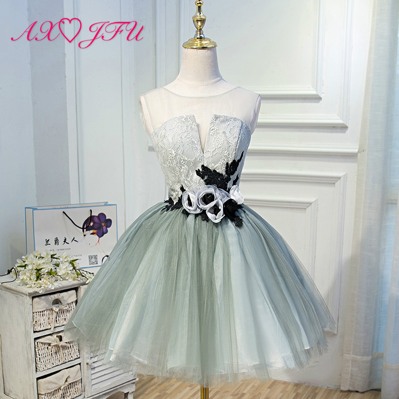 AXJFU Party flower evening dress short fashion parties Korean sweet rose evening dress temperament flower evening