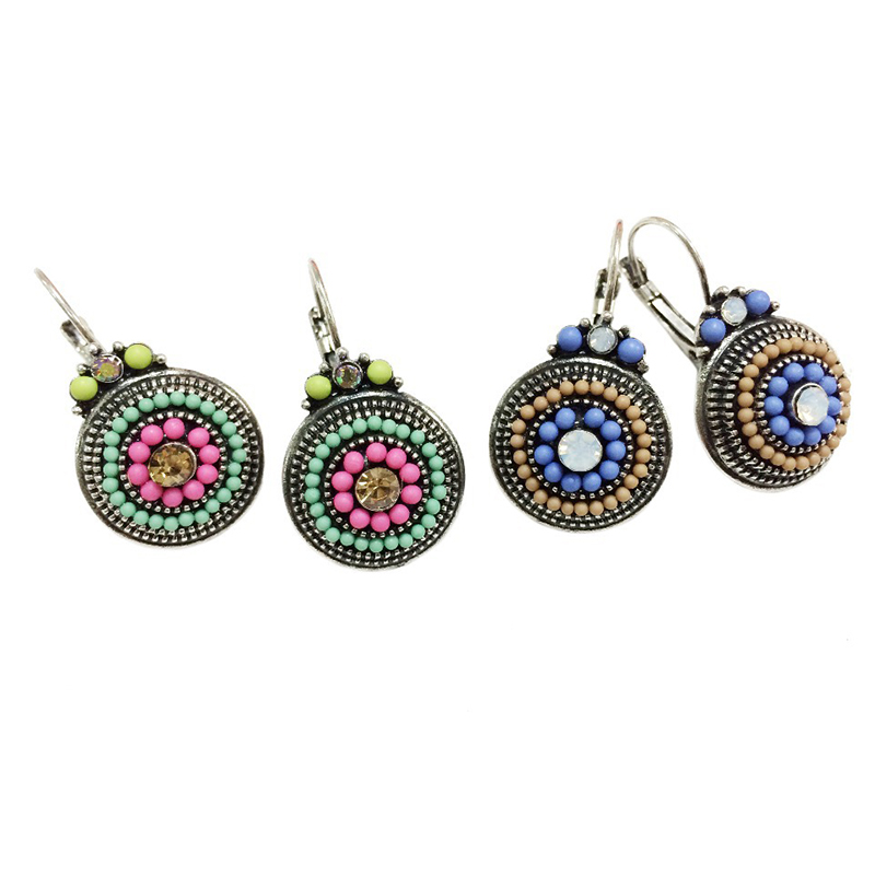 Vintage Earrings for women Brincos 2018 Colorful Beads Charms Ethnic Clip On Earrings Female Statement Jewelry in Clip Earrings from Jewelry Accessories