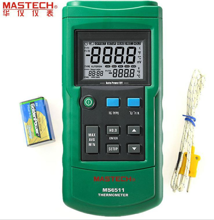 MASTECH MS6511 Dual Channel Digital Thermometer Temperature Logger Tester USB Interface K/J/T/E/R/S/N Thermocouple az 8851 3 in 1 portable k j t single thermocouple thermometer meter thermometer tester