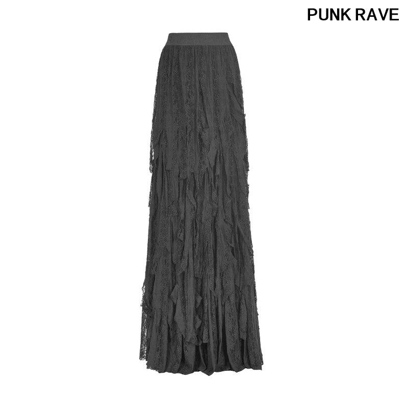 Gothic vintage gorgeous sexy ladies dancing long maxi skirt Nostalgic elasticity vertical stripe mesh skirt PUNK RAVE Q 326