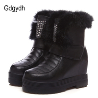 Gdgydh Real Fur Snow Boots Women Sexy Crystal 2017 New Winter Shoes Platform For Woman Height